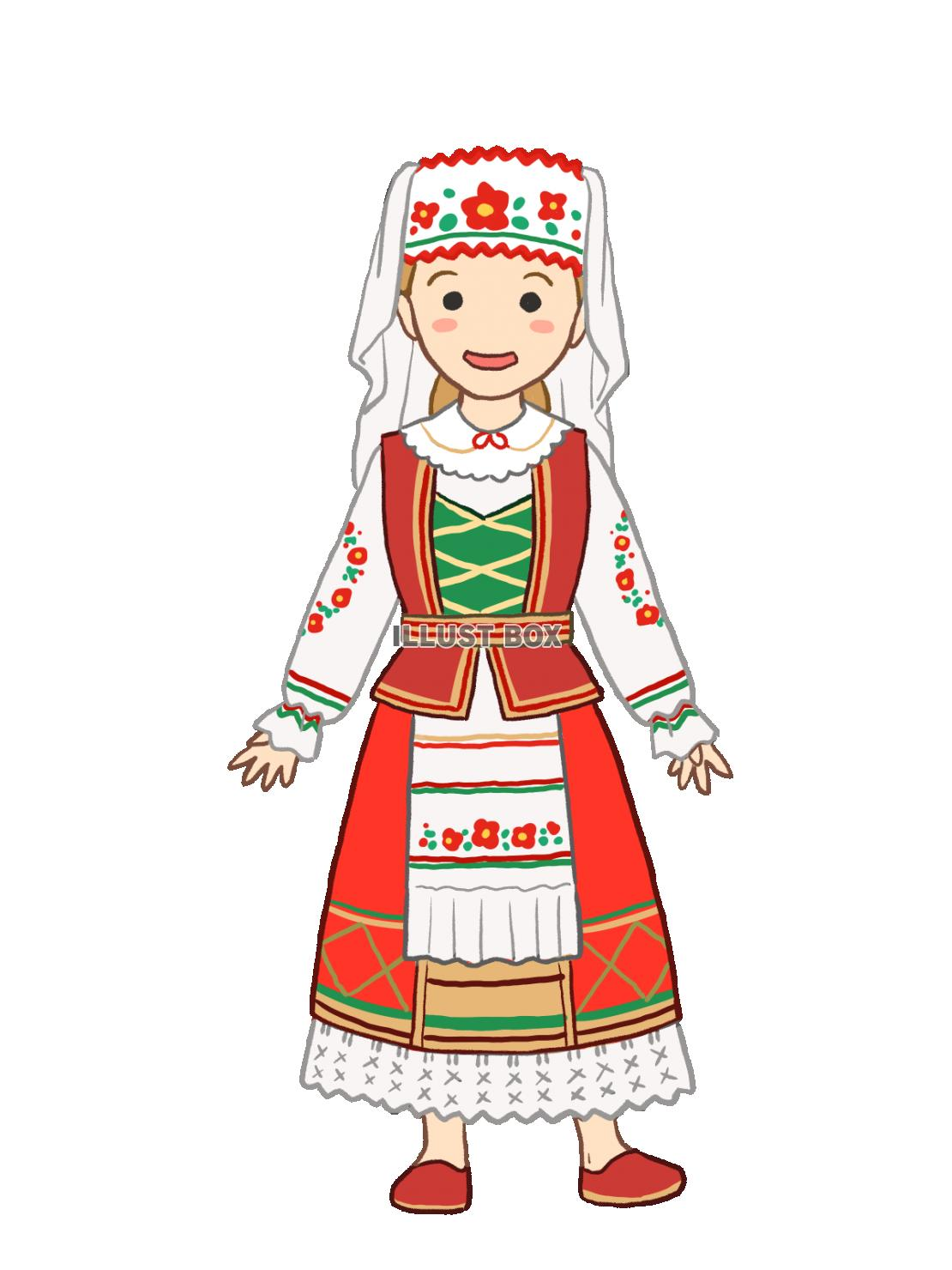 無料イラスト ベラルーシ民族衣装