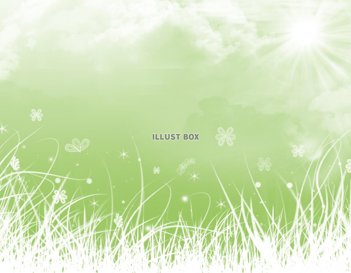 無料イラスト おしゃれフレーム枠背景壁紙シルエットかわいい 緑空太陽