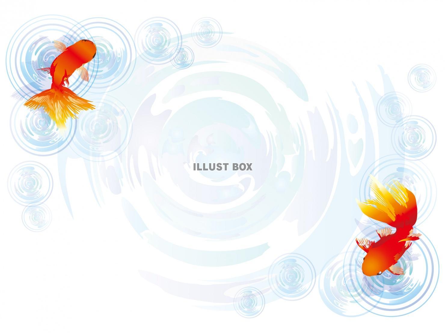 無料イラスト 金魚波紋背景素材水面イラスト夏水彩壁紙素材シンプル和風手書き