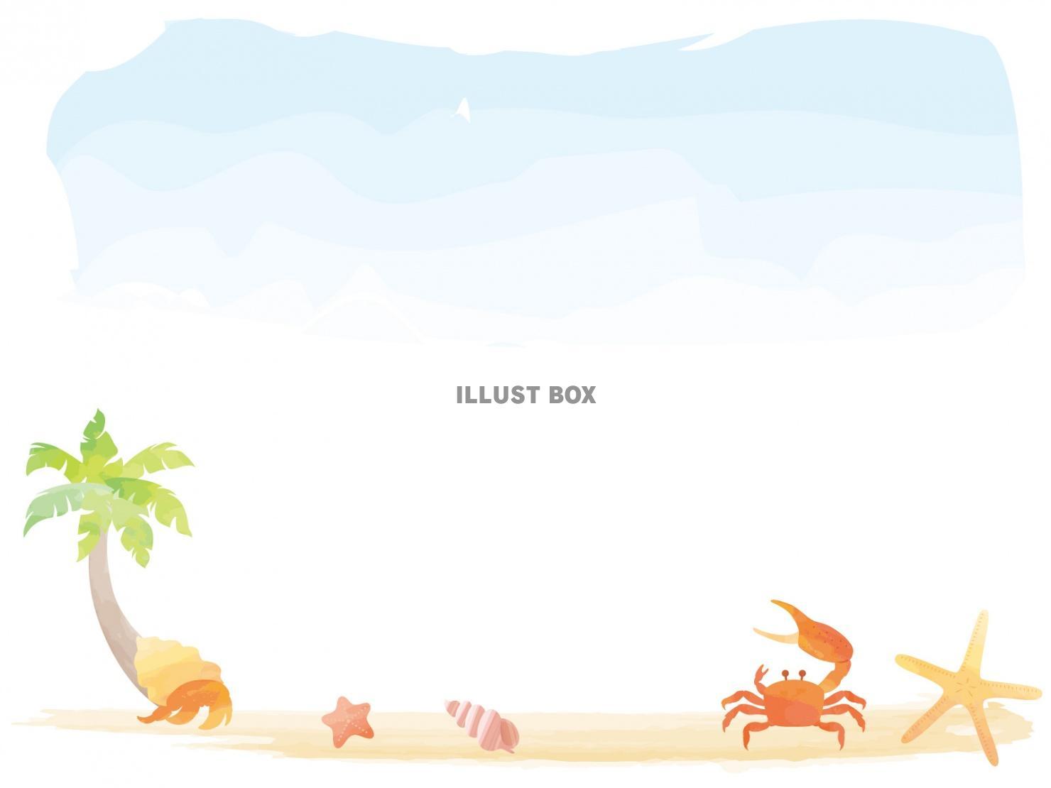 無料イラスト 夏の浜辺 水彩風 ヤシの木ヤドカリヒトデバイガイ