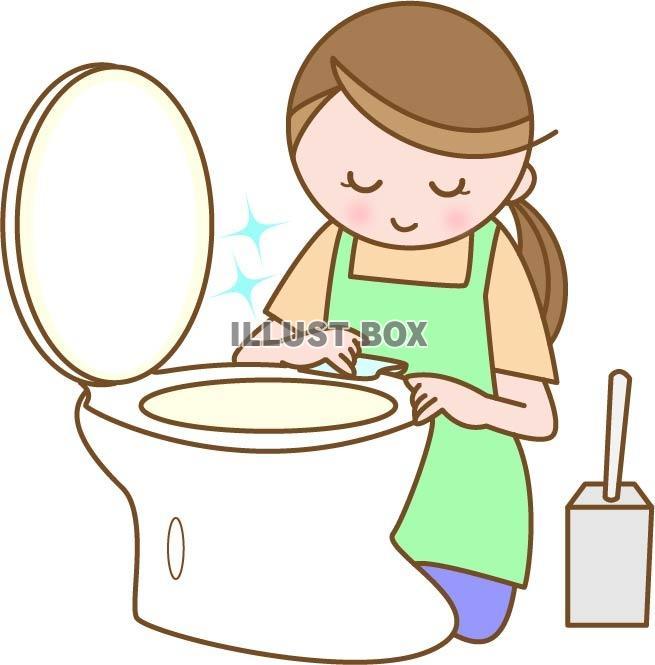 無料イラスト トイレ掃除をする女性