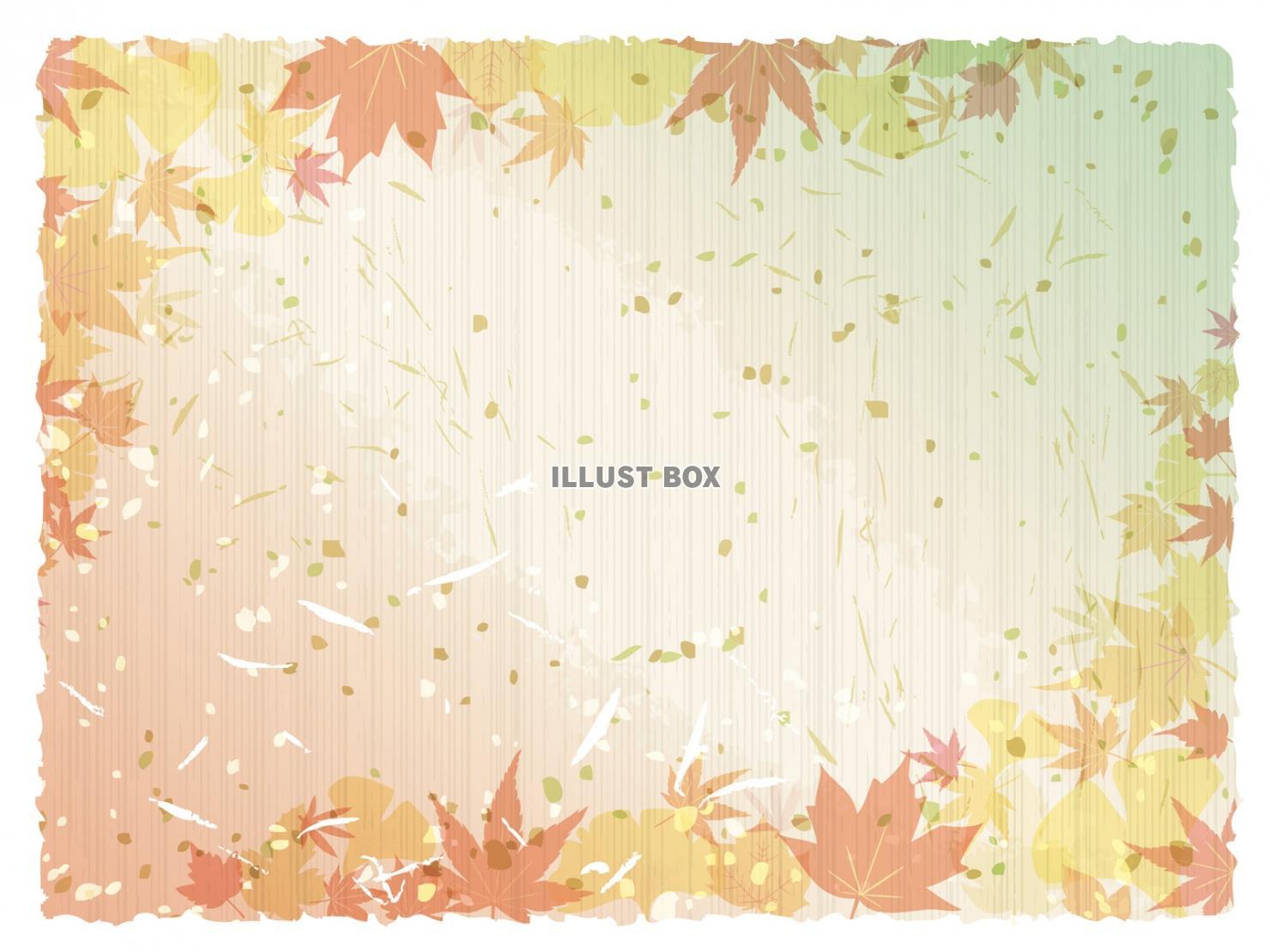 無料イラスト 紅葉背景和紙秋おしゃれフレーム枠和イラスト10月11月もみじ