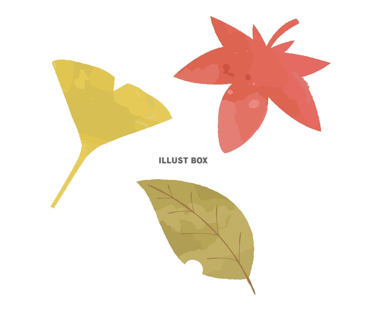 無料イラスト かわいい秋の葉っぱのイラスト素材