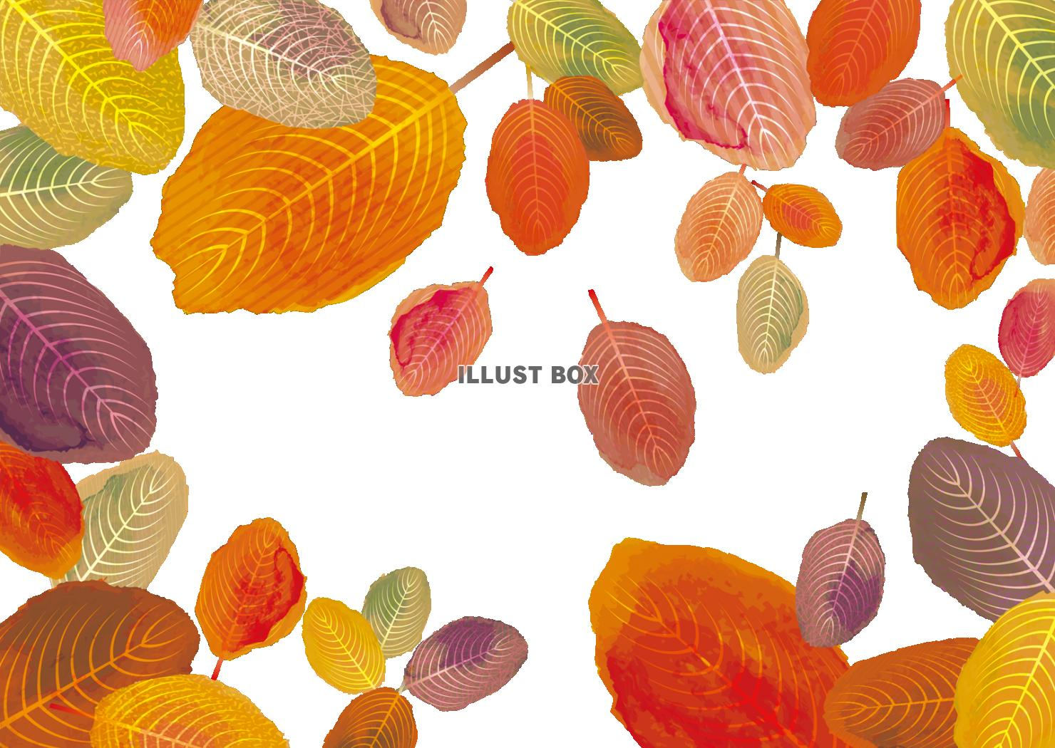 無料イラスト 紅葉背景枯葉落葉秋冬シルエット10月11月12月壁紙ポストカ