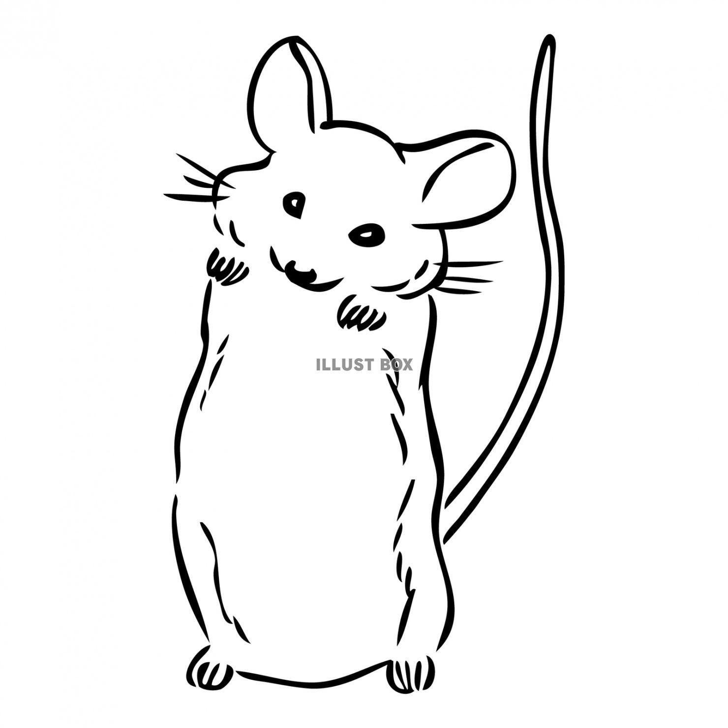 無料イラスト 2020年干支ネズミの可愛いモノクロ絵【令和二年子