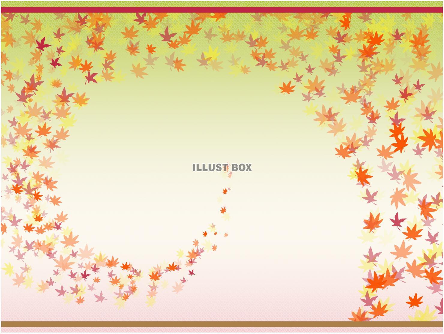 秋の紅葉とつむじ風フレーム・和柄