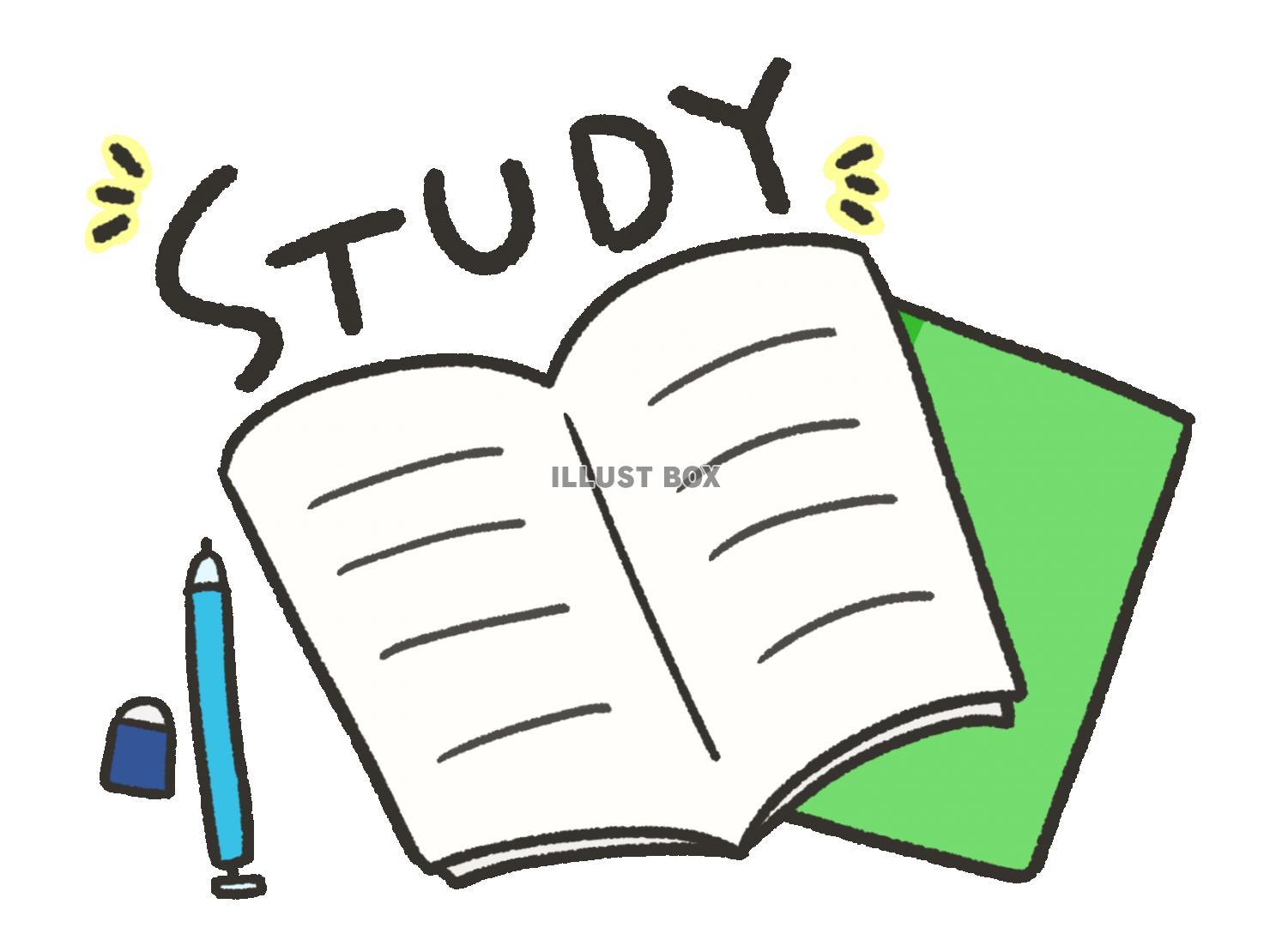 無料イラスト 手描き風のノートと勉強