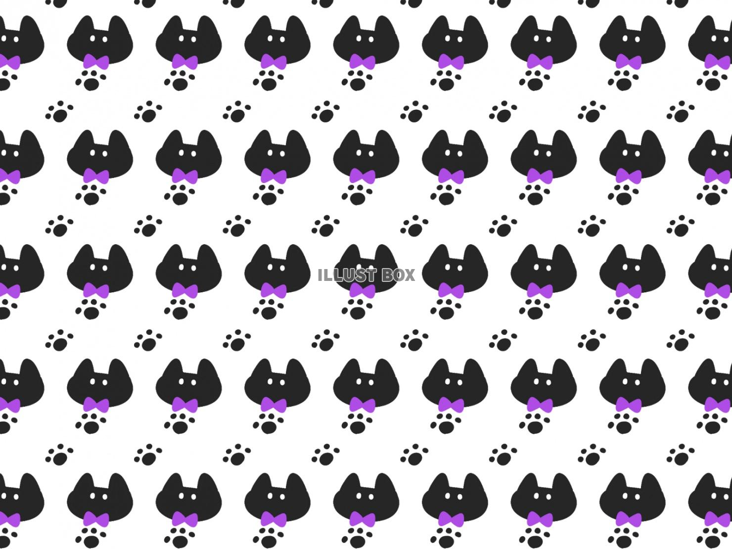 無料イラスト かわいい黒猫と肉球柄の壁紙