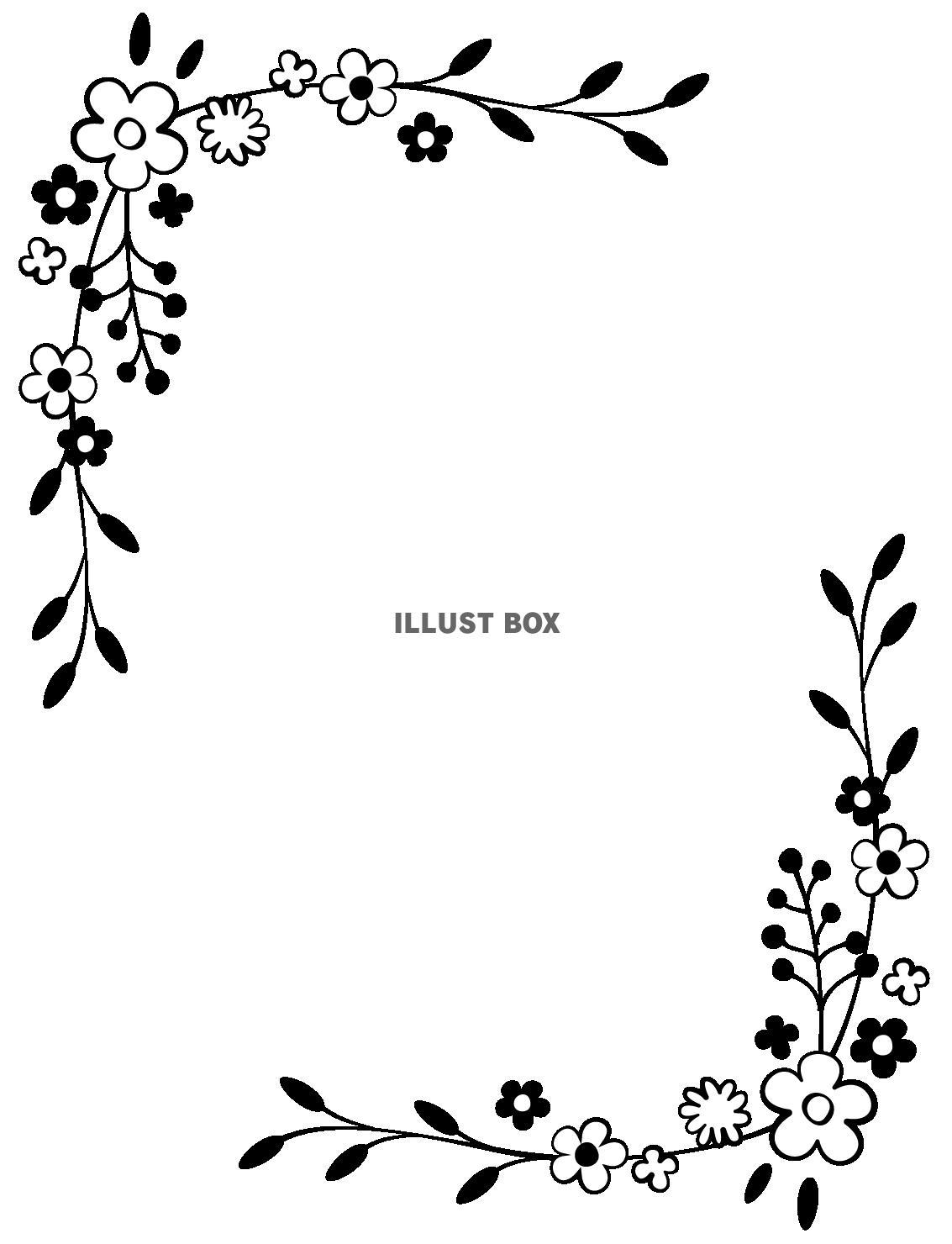 無料イラスト 透過 手書きのお花のフレーム枠 シンプルかわいい手描き白黒モ
