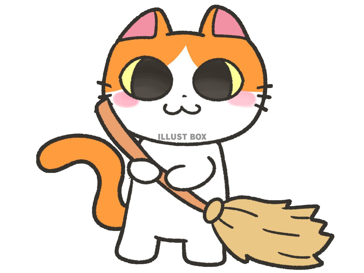 無料イラスト 掃除を手伝う猫 ほうき