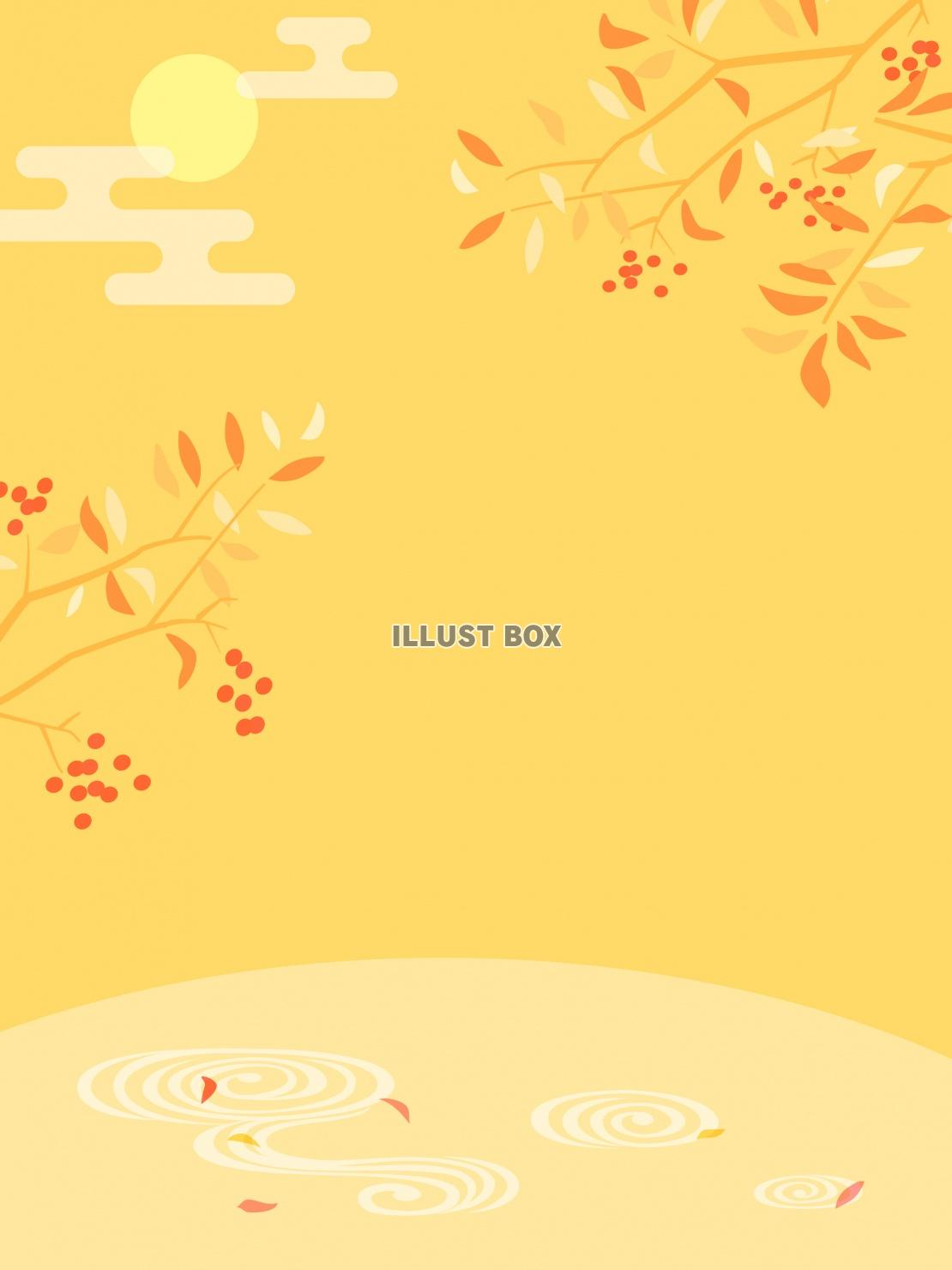 秋を感じる和風フレーム・山吹色