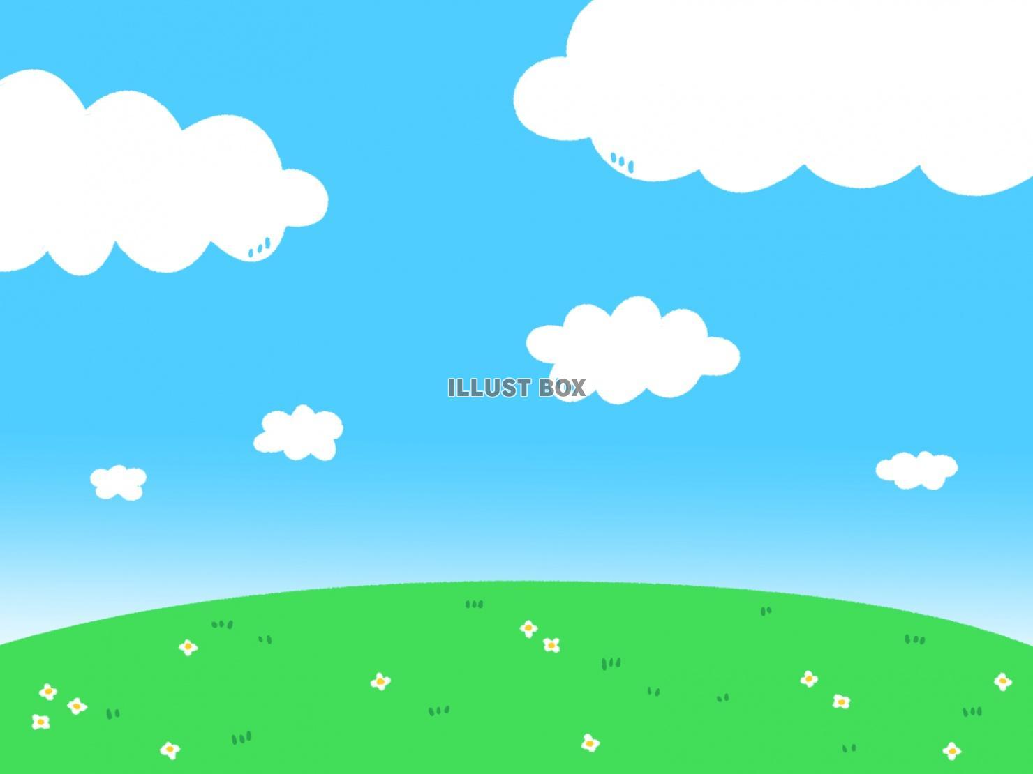 無料イラスト かわいい空と草原の壁紙素材