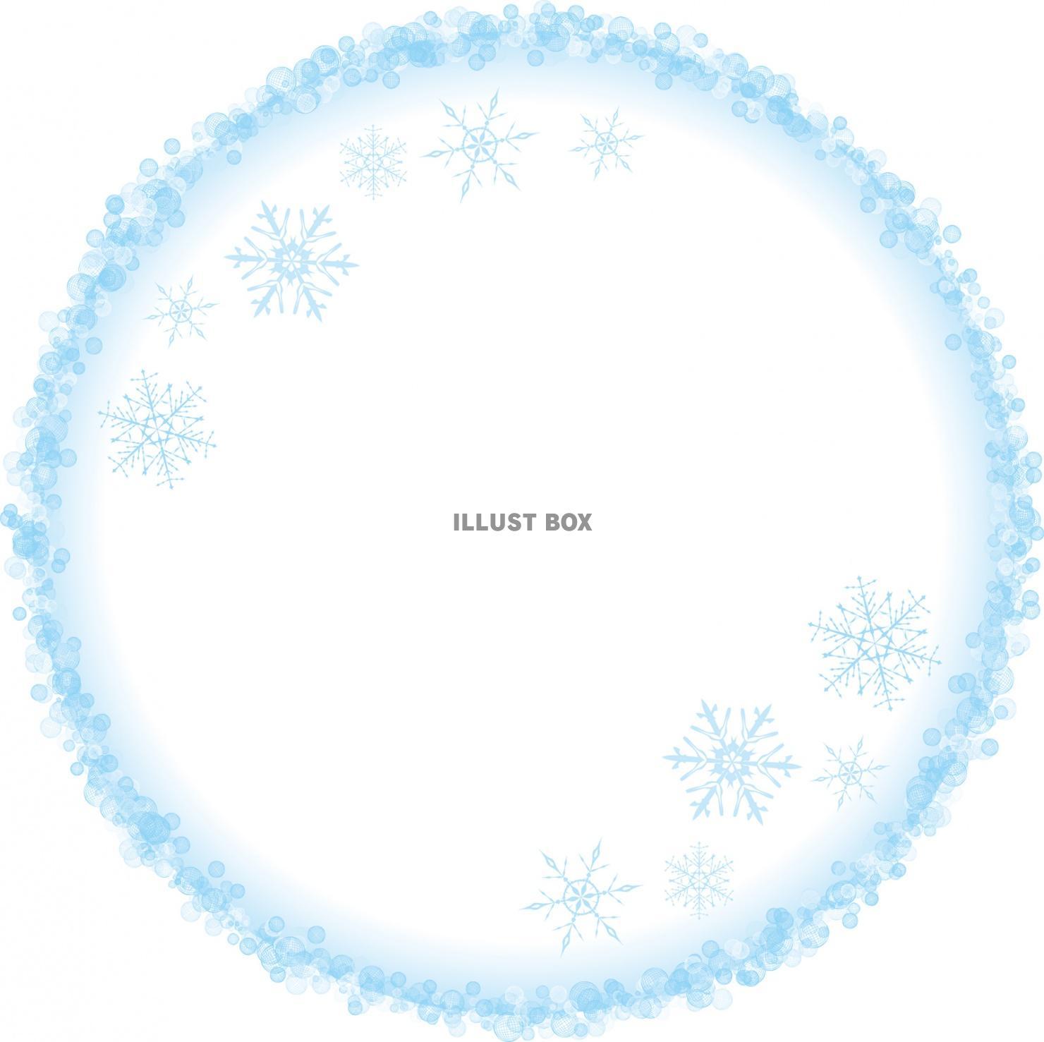 無料イラスト 雪の結晶シンプル丸型飾り枠冬イメージ円形 11月12月1月2