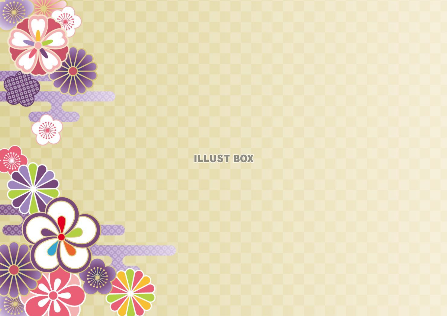 無料イラスト 和のゴージャスな背景 金格子花文様伝統模様年賀状正月