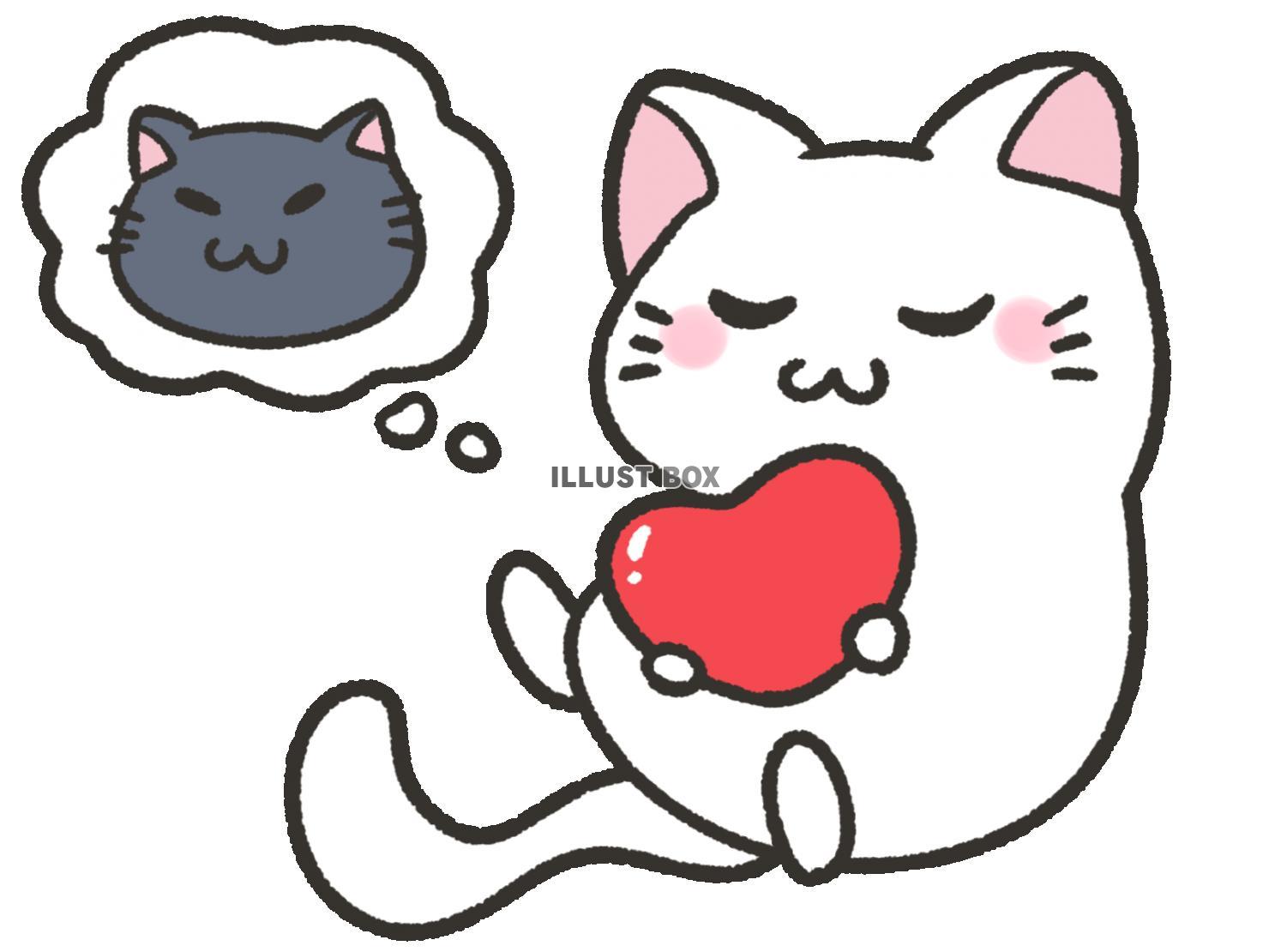 無料イラスト 黒猫のことを考えるかわいい猫 白