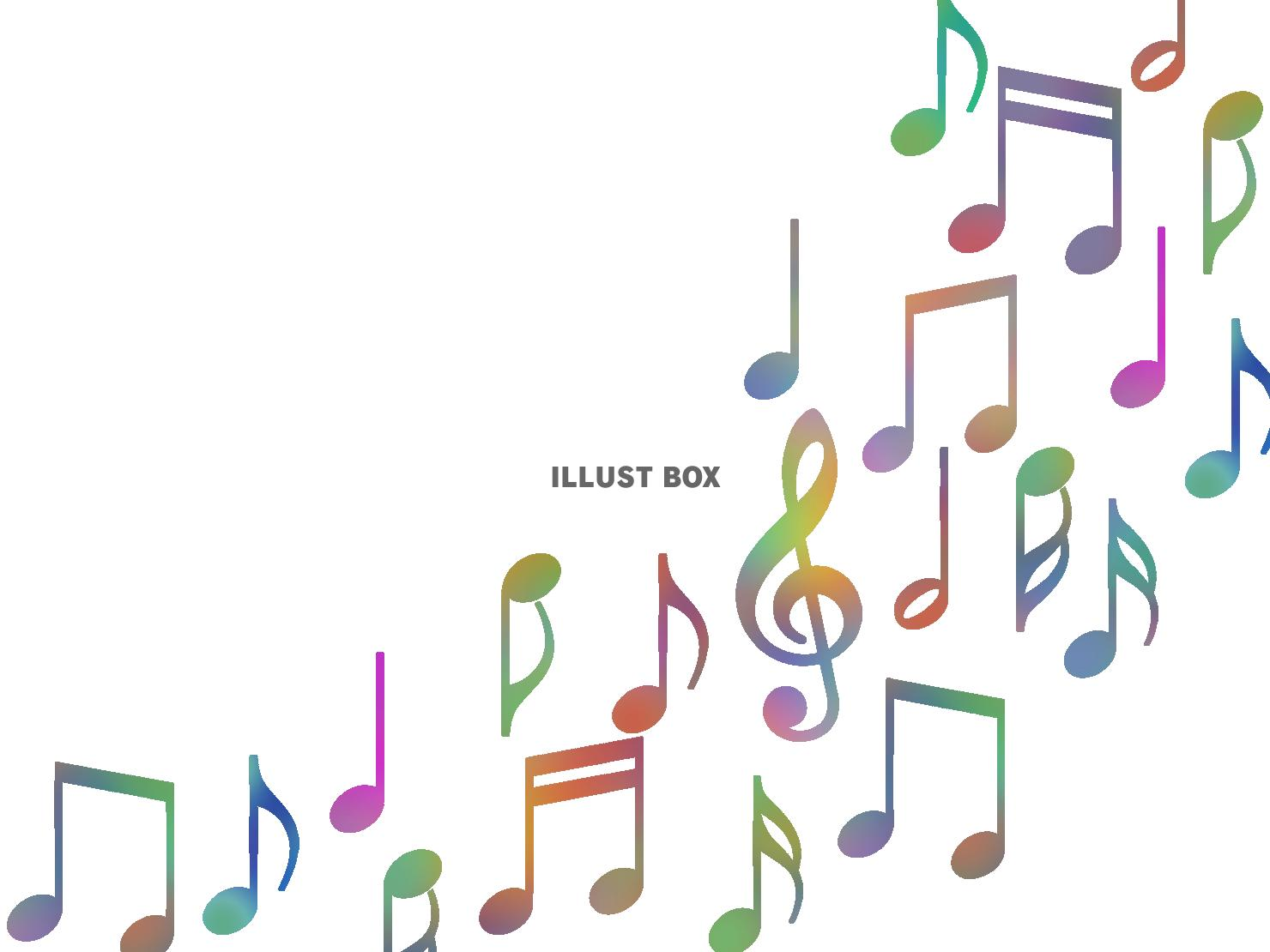無料イラスト 音符壁紙画像カラフル音楽背景素材イラスト 透過png