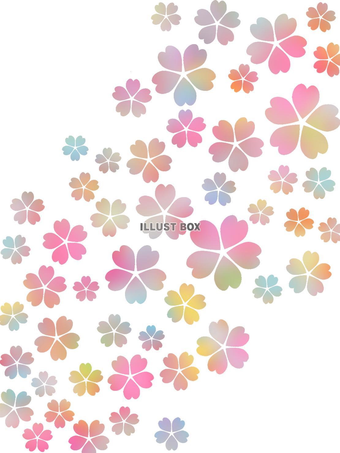 無料イラスト 桜の花模様壁紙カラフル背景素材イラスト 透過png