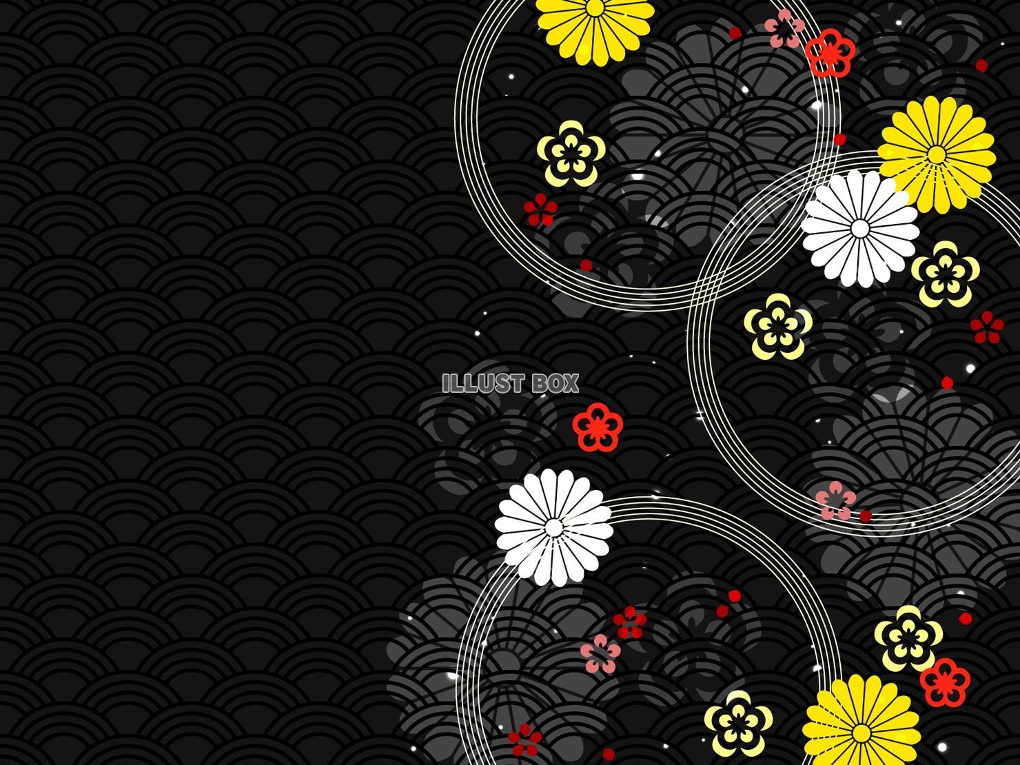 無料イラスト 花もようの和風背景