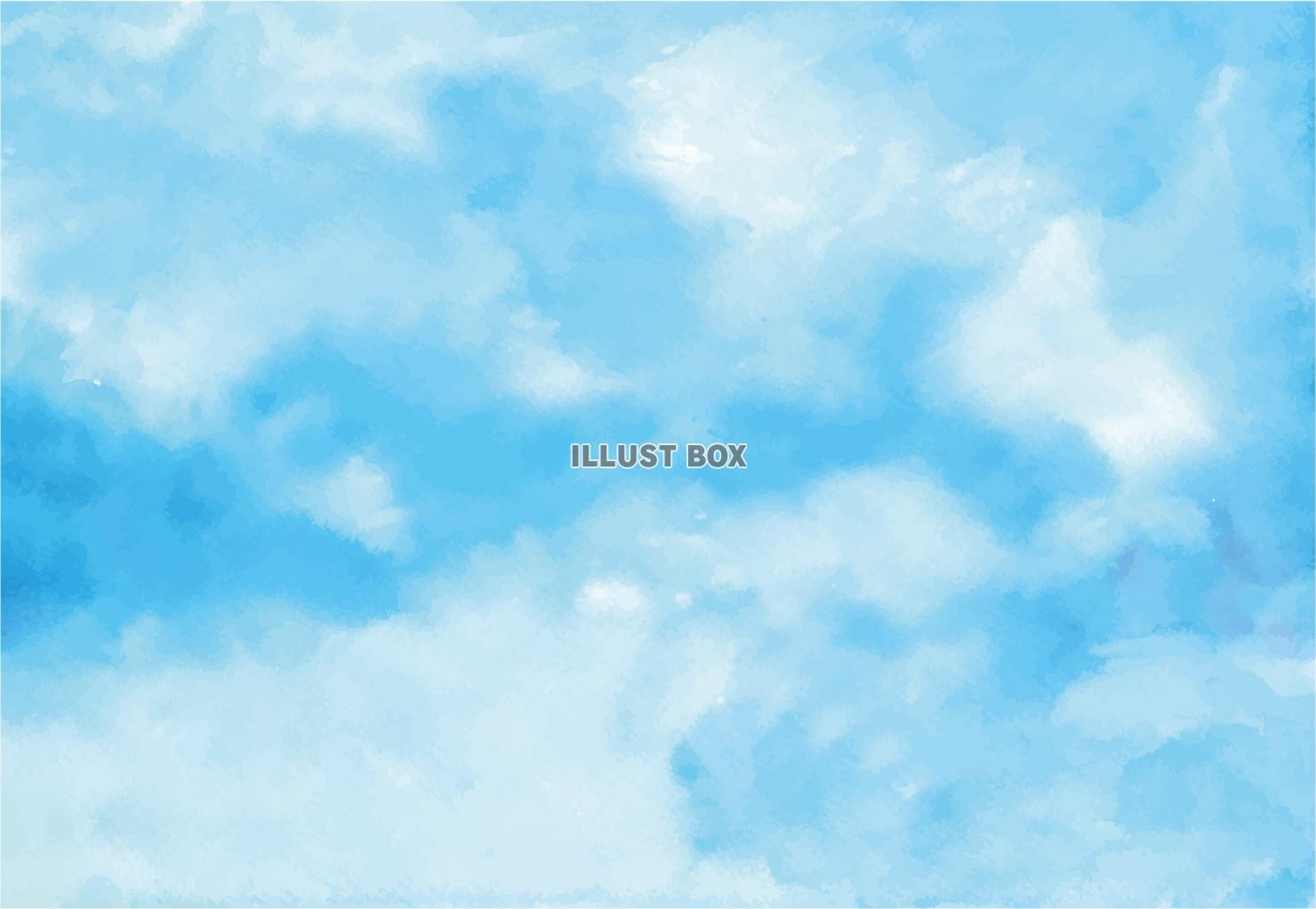 無料イラスト 夏 空 海イメージ 水彩背景画 水色 ブルー