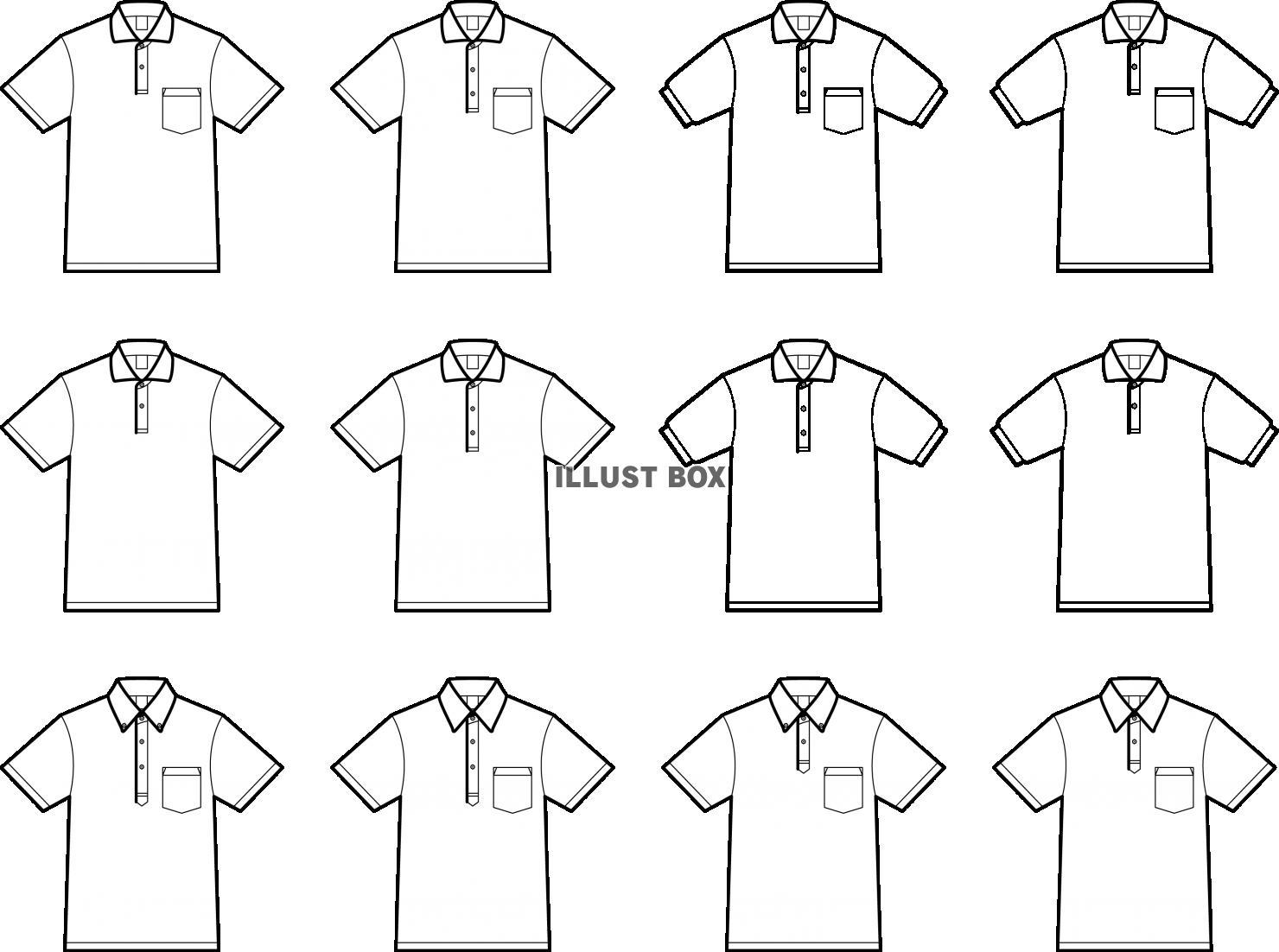 無料イラスト ポロシャツ バリエーション セット