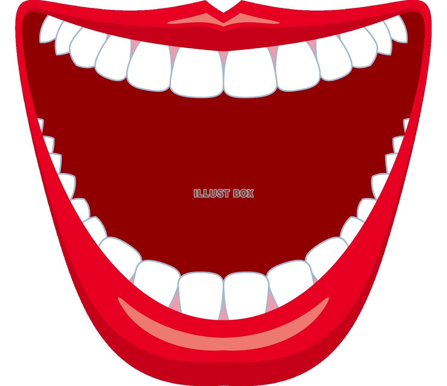 無料イラスト 口 フレーム 笑顔 大口 大笑い