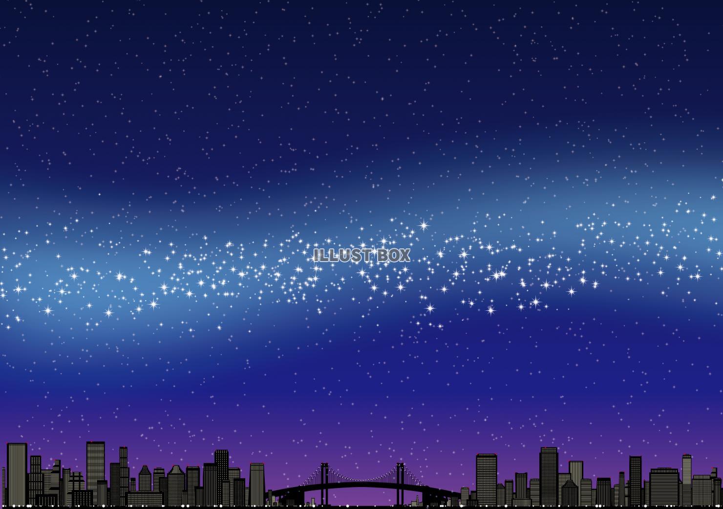 無料イラスト 都会 夜景 天の川 星空