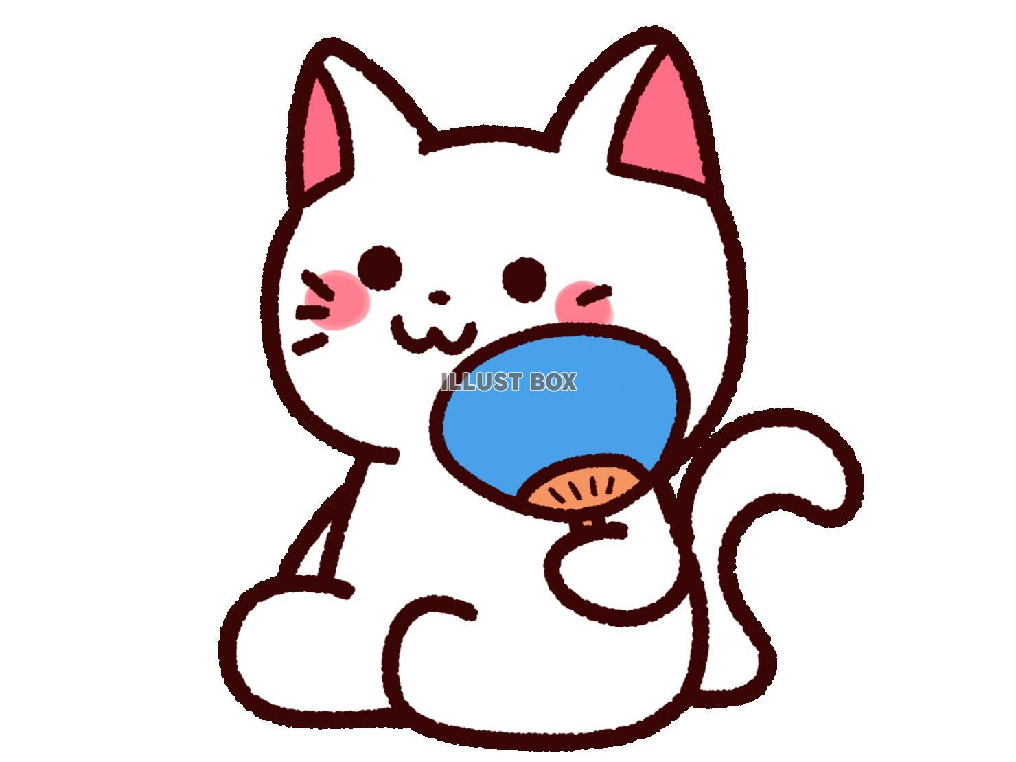 無料イラスト うちわを持ったかわいい白猫