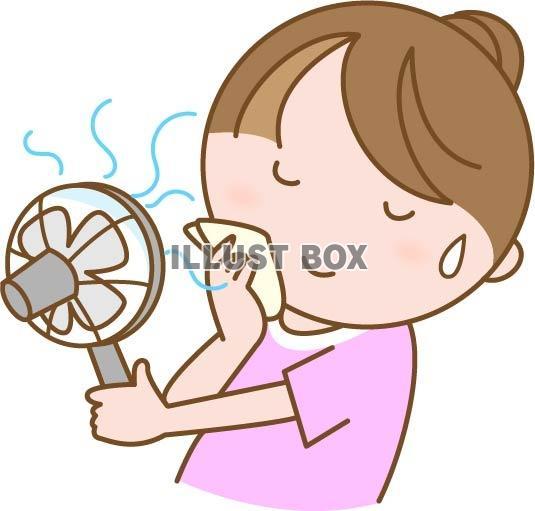 携帯用のミニ扇風機で涼む女性