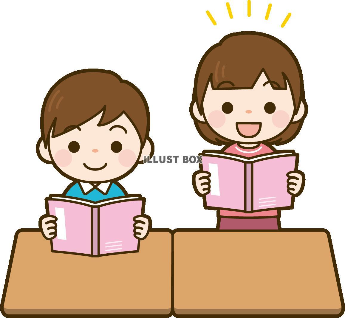 音読・本読みをしている女の子